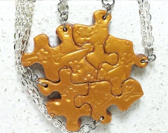 Puzzle Piece Necklace Set of 5 Bridesmaid or Best Friend  Bright Gold Polymer Clay Cherry Blossom set 300
