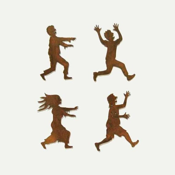Zombies Chasing Victims Refrigerator Magnets Set of 4 FREE SHIPPING