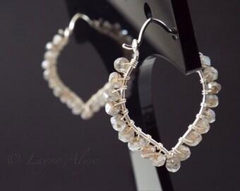 Mystic Labradorite sterling lotus hoop earrings