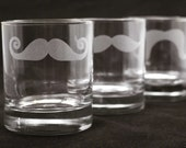 2 Custom Engraved Mustache Old Fashioned - Rocks Glasses for Groomsmen