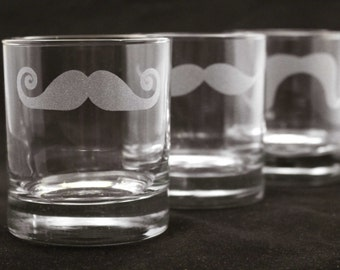 12 Custom Engraved Mustache Old Fashioned - Rocks Glasses for Groomsmen