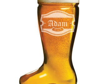 Personalized Mens Gift, Custom Engraved 1 Liter Beer Boot - Das Boot - for Mens Birthday Gift, Boyfriend Gift, Dad Glass, Man Cave