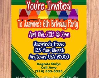 Crayola Birthday Invitation - Crayola, Crayon, Crayon Box, Crayola Party Invitation, Crayola Box Invitation, Crayon Box Invitation 4x6