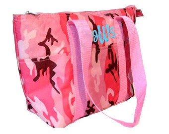 Personalized Insulated Lunch Tote Pink Camouflage Design