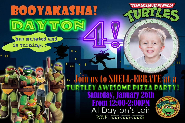 Customized Ninja Turtle Birthday Party Invitations Invite – Ninja Turtle Birthday Party Invitations