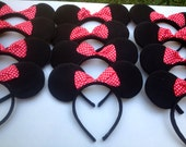 Minnie Mouse ears Inspired Bow Headband With red and white polka dot bow for Birthday favors or Disney Trip SET OF 12