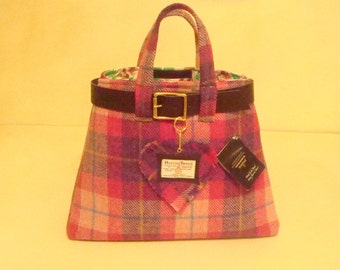 Harris tweed bag purse made in Scotland tartan women gift girl gift pink