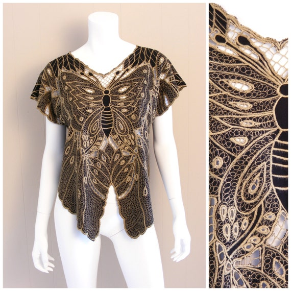 Vintage Bali Butterfly cutout top. Black and Gold crochet lace cutwork 1970s.