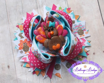 Turkey hair bow, turkey over the top bow, Thanksgiving bow, Thanksgiving over the top bow, Thanksgiving layered bow