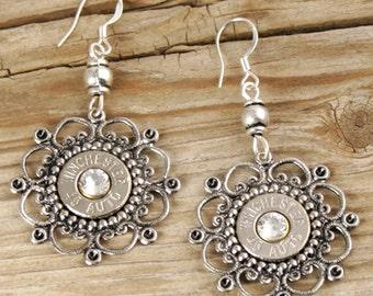 Bullet Earrings / Elegant Wired Flower Bullet Earrings WIN-45A-N-EWFE / Flower Earrings / Flower Bullet Earrings / Silver Earrings / Custom