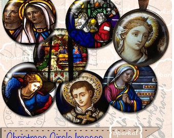 Religious Digital Collage Sheet CIRCLE IMAGES Instant Download Use in Bottle Cap Images these are 1 Inch Round Images