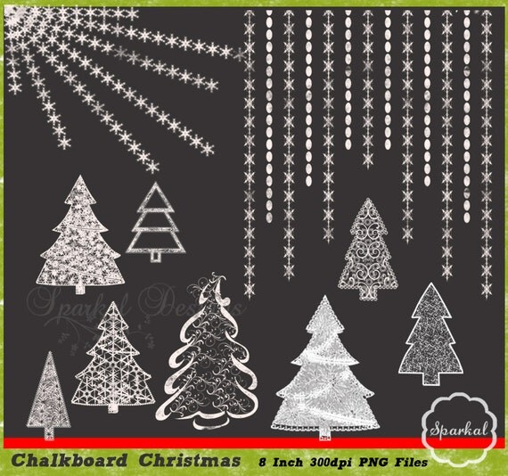 Items similar to Christmas Clipart Chalkboard Trees Great ...