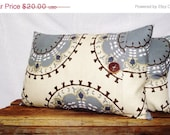 Pillow Cover 14x20 Suzani Print Smokey Blue, Mineral Blue, Khaki, Brown, Cream Background. Wood Button