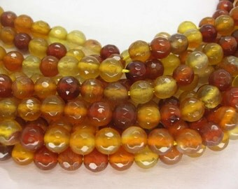 Beautiful Amber Colored Agate Faceted Round Beads 6mm - 15 Inch Strand