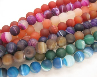 Beautiful Lace Agate Round Smooth Matte Beads 10mm
