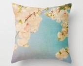 Pillow Cover, Turquoise Pillow, Throw Pillow, Pink Blossoms, Living-Room Pillow, 16x16 Pillow Decorative, Home Decor - Miami Summer