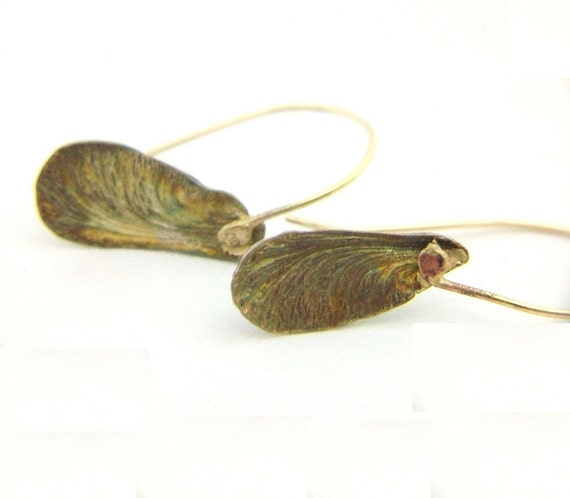 Maple Seed Leaf Earrings Silver with 14K Gold Filled Earwires