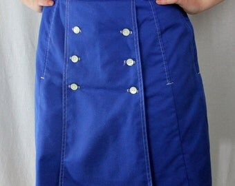 Bright blue skorts by Gator of Florida white buttons and stitching 1960's sporty skirt shorts golf pockets nautical style summer vibrant