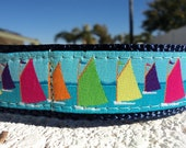 """Dog Collar Seattle Sails 1"""" width adjustable Side Release buckle - martingale style is cost upgrade - choose webbing color"""