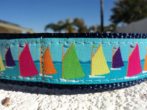 "Dog Collar Seattle Sails 1"" width Quick Release buckle - choose webbing color - no martingale limited ribbon"