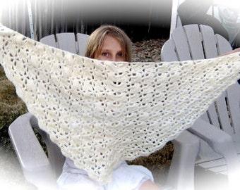 Shawl, Lacy, Bamboo Yarn, Soft, Off White, South Bay Shawlette, Crochet, Ladies, Handmade