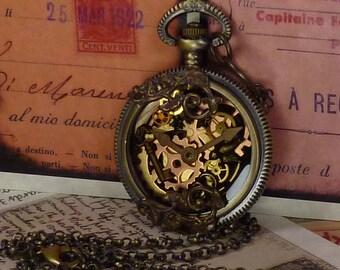Airship Captain Steampunk vintage pocket watch pendant PW74