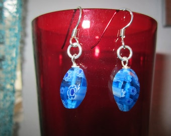 Droplet Earrings, Aqua Blue Jewelry, Glass Bead, Sterling Silver, Ear Wire Posts, Mothers Day Gift, Gifts Under 25