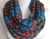 Infinity Scarf: Blue, Red, and Black Plaid Flannel, Circle Scarf, Eternity Scarf, Loop Scarf, Winter Scarf