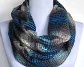Infinity Scarf,Turquoise, Gray and Cream Flannel, Circle Scarf, Loop Scarf, Eternity Scarf, Winter Scarf, Tartan