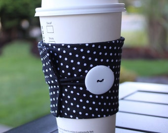 Reusable Coffee Cup Cozy Sleeve - Polka Dot Mug Cozy - Tiny Black and White Polka Dots