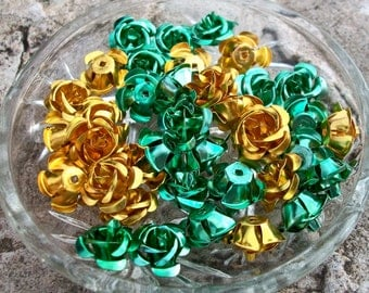 Large Golden Yellow and Pale Green 15mm Aluminum Flowers