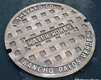 """Manhole cover - Man Cave - Sewer Cover - 22"""" Personalized Sewer Cover - Corporate Gift - Housewarming - Groomsman Gift"""