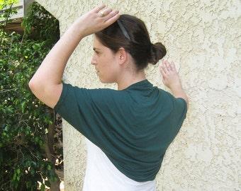 Greenery shrug, greenery bolero, gift for her, dark green shrug, short sleeve shrug, gift idea, green shawl cover up, bolero shrug