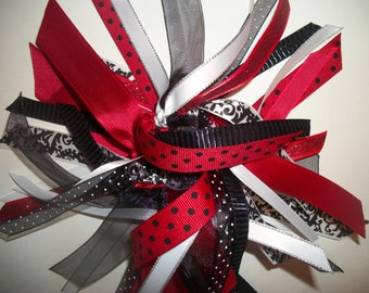Red, Black, and White Gymnastics / Sports Style Ribbon Ponytail Streamer
