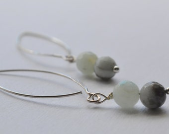 Cloudy Blue Faceted Amazonite Earrings