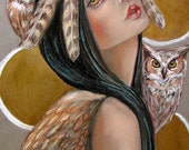 Owl Woman goddess 5x7 fine art print
