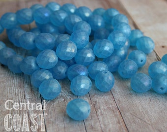 Ice Opal - Czech Glass Faceted Round Firepolished Beads 12mm - 6pcs - Frosty Blue AB Picasso - Central Coast Charms