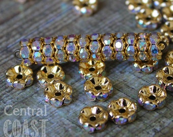 8mm Gold Brass AB Czech Glass Rhinestone Rondelle Spacers (50) - Wavy Edge - Aurora Borealis - Vintage Style - Central Coast Charms