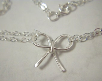 Sterling Silver Bow Necklace with Doubled Chain