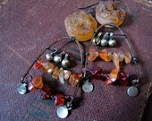 HALF OFF sun curse - rustic carnelian earrings