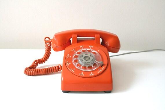 orange vintage telephone by boxofhollyhocks on etsy. Black Bedroom Furniture Sets. Home Design Ideas