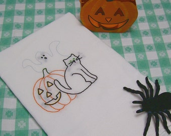 Halloween Dish Towel - Kitchen Towel - Tea Towel - Jack O Lantern - Ghost - Black Cat - Hand Embroidered Cotton Flour Sack