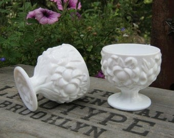 Pair of Milk Glass Candle Holders with Floral Design - Wedding Decor - Oak Hill Vintage