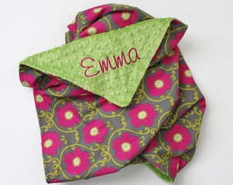 PERSONALIZED Baby Girl Minky Stroller Blanket with Flowers Green Pink Gray
