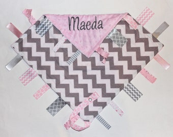PERSONALIZED Baby Girl Chevron Ribbon Tag Sensory Blanket with Pacifier Clip Large 16 x 16 Light Pink Minky