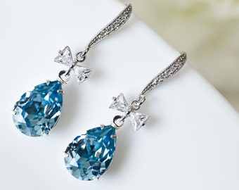 Bridal Earrings, Bridesmaids Earrings, Cubic Zirconia Ear Wires, CZ  Bow Connectors and Aquamarine Swarovski Crystal Teardrops Earrings