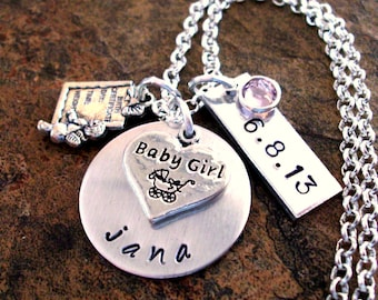 New Baby Necklace, Birth Date Jewelry, Personalized Mom Necklace, Baby Feet Necklace, Birthstone Jewelry, New Mom Jewelry, Birth Jewelry