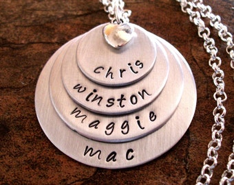 Super Sale Now Personalized Jewelry, Mommy Necklace, Hand Stamped Jewelry, 4 Satiny Silver Discs