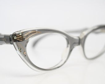 Rhinestone Cat Eye Glasses Cateye Eyeglasses NOS Vintage Gray