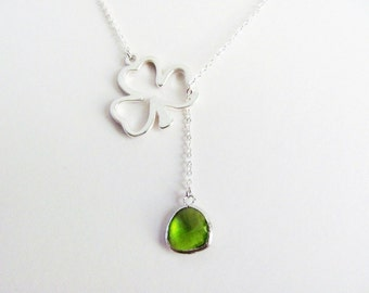 Green Peridot Lucky Clover Lariat Necklace in Silver-  August birthstone, Irish, St. Patrick, original design by ACutieChick.